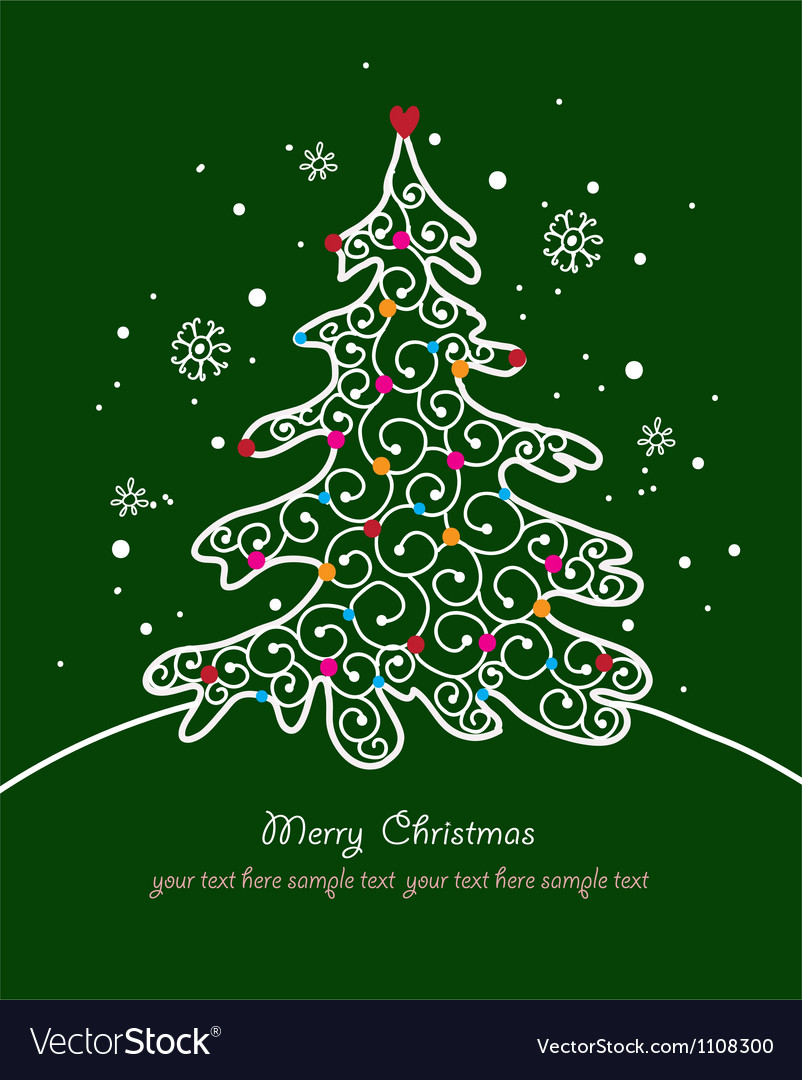 Christmas card with tree and ornaments xmas card vector | Price: 1 Credit (USD $1)