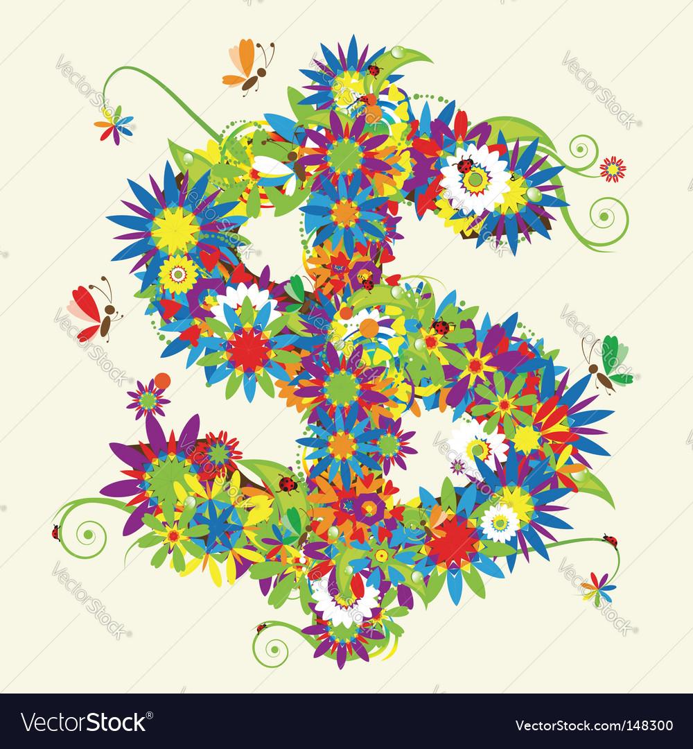 Dollar sign floral design vector   Price: 1 Credit (USD $1)