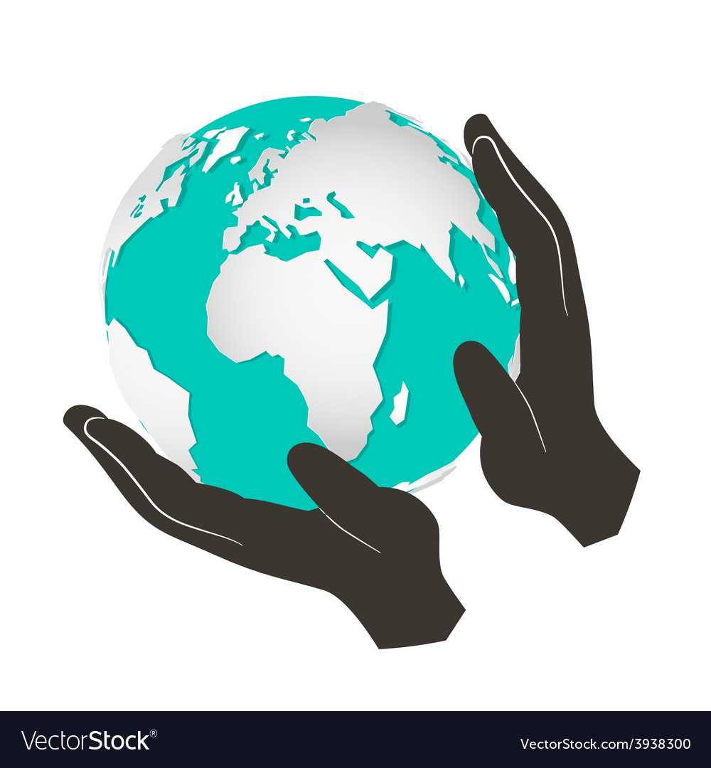 Globe - earth in hands isolated on white bac vector | Price: 1 Credit (USD $1)