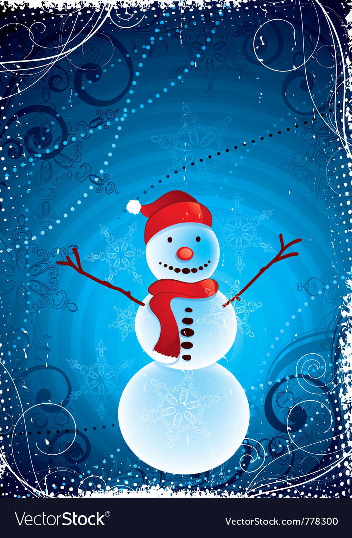 Happy christmas snowman vector | Price: 1 Credit (USD $1)