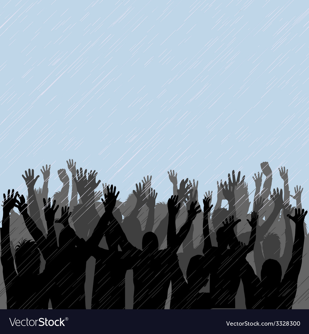 People enjoying the rain vector | Price: 1 Credit (USD $1)
