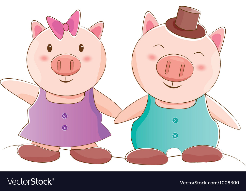 Pig couple vector | Price: 1 Credit (USD $1)