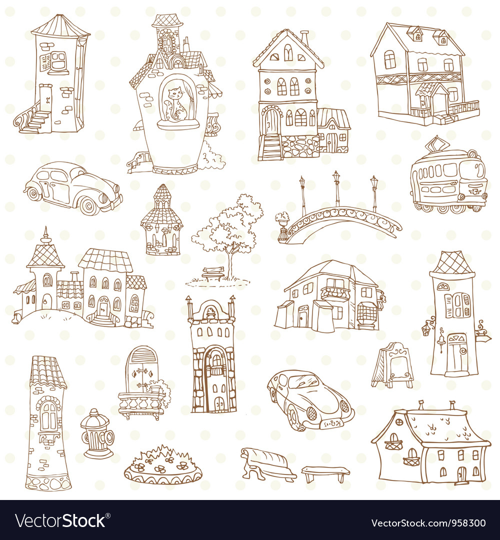 Scrapbook design elements - small town doodles vector | Price: 1 Credit (USD $1)