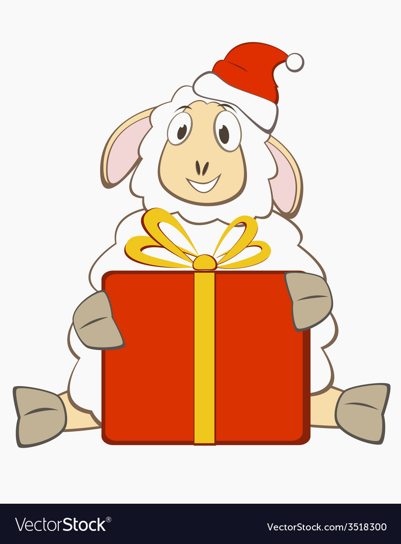 Sheep with gift box vector   Price: 1 Credit (USD $1)