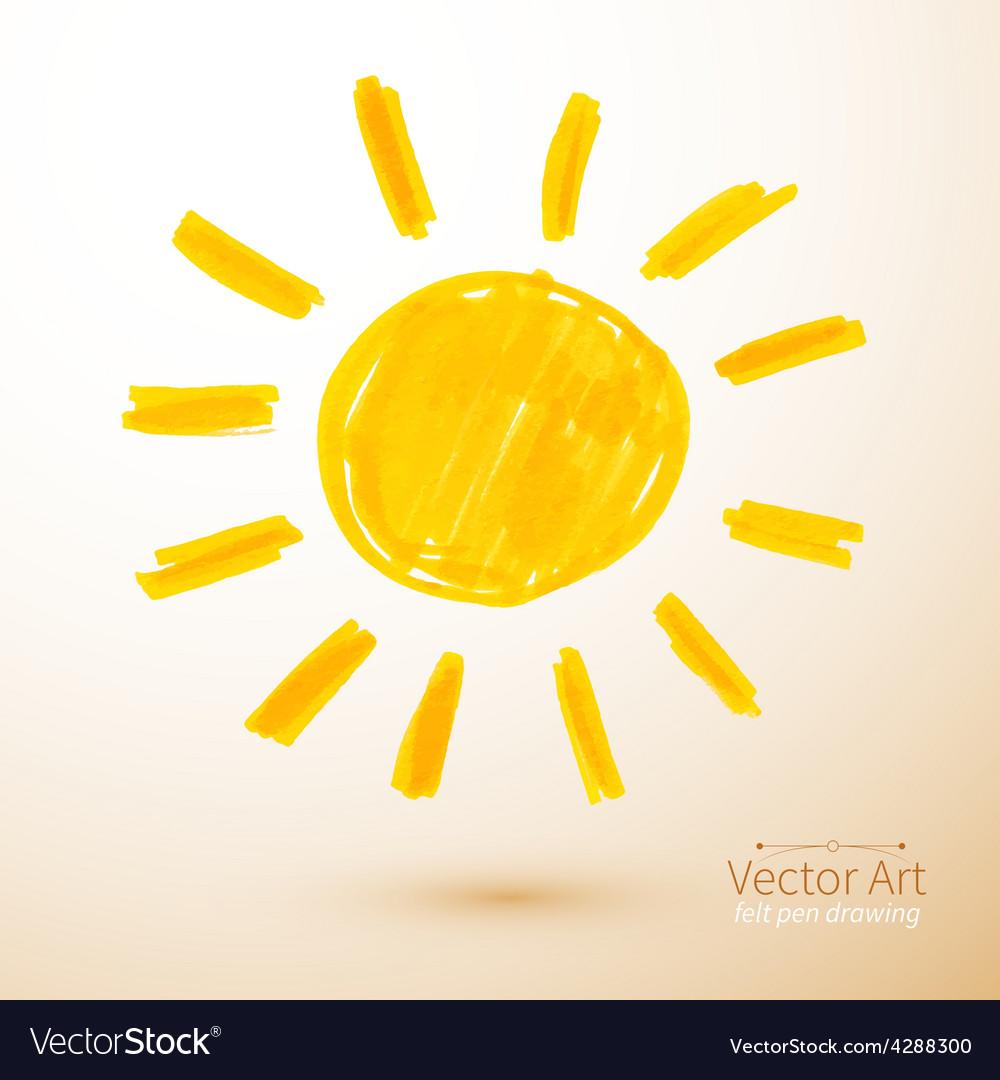 Sun felt pen drawing vector | Price: 1 Credit (USD $1)