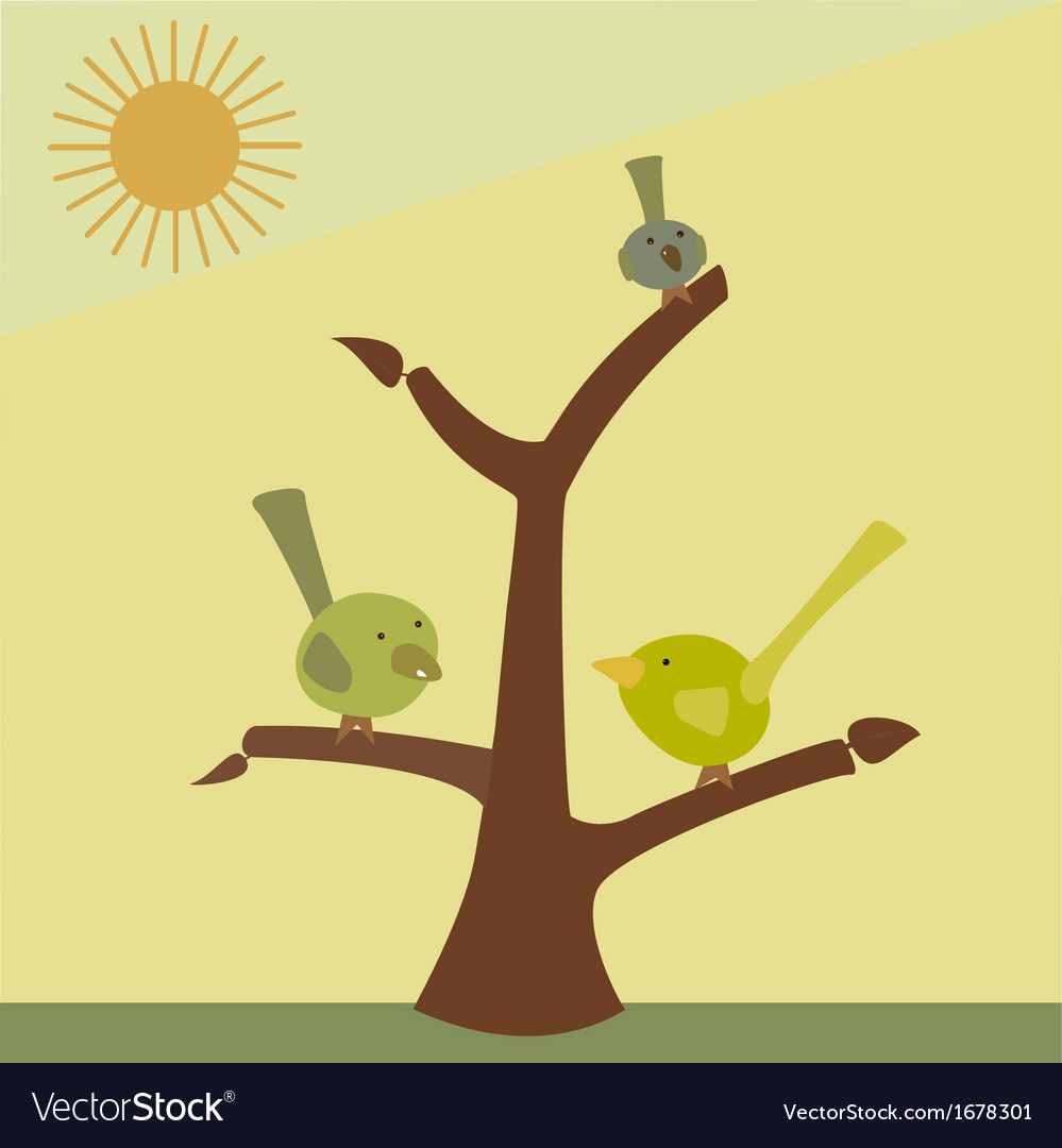 Bird on a tree branch vector | Price: 1 Credit (USD $1)