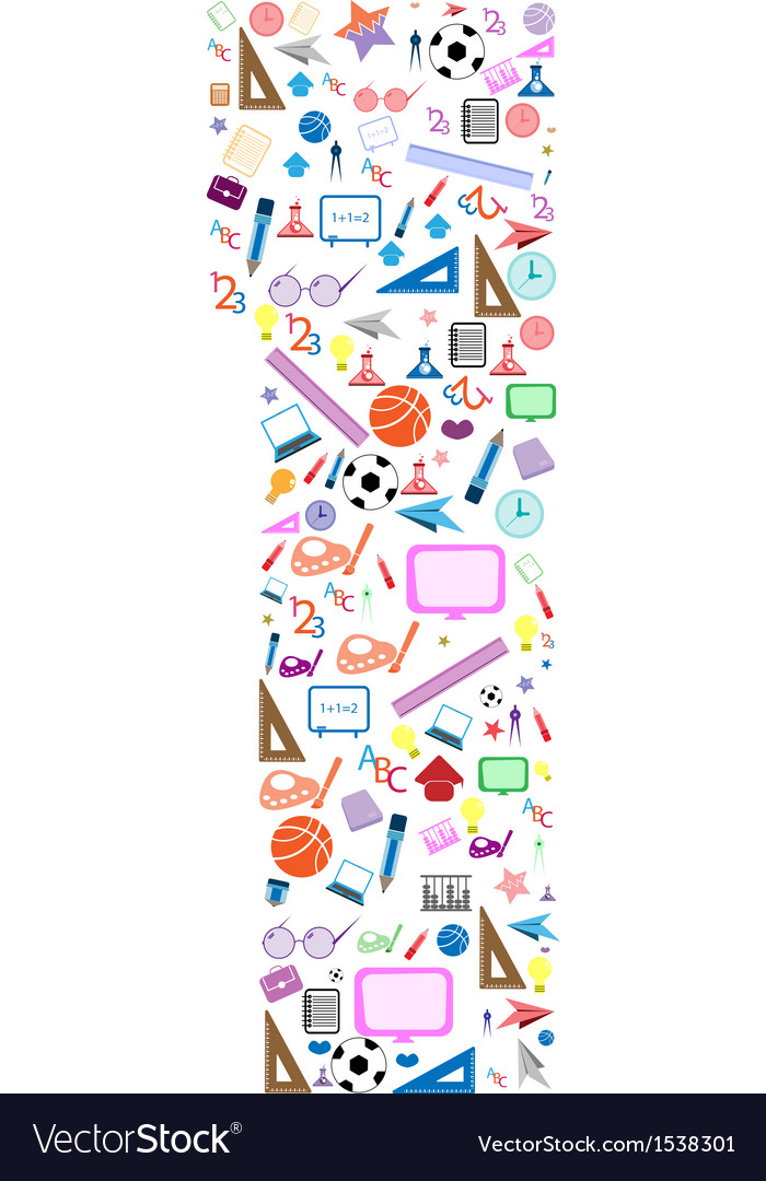 Colorful school number background with media icons vector | Price: 1 Credit (USD $1)