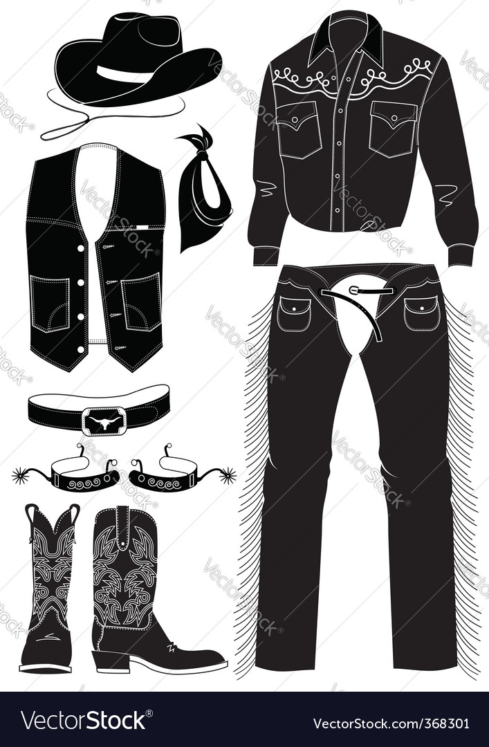Cowboy clothes and elements vector | Price: 1 Credit (USD $1)