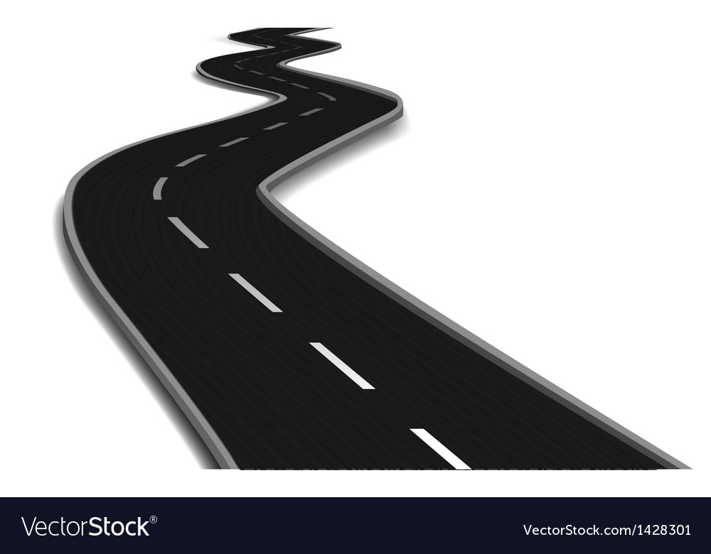 Curved road bridge vector
