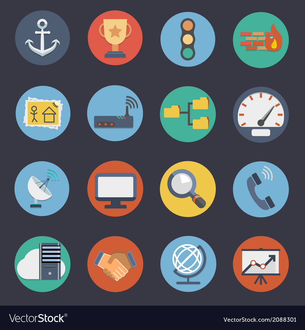 Flat icons for web and applications set 3 vector | Price: 1 Credit (USD $1)