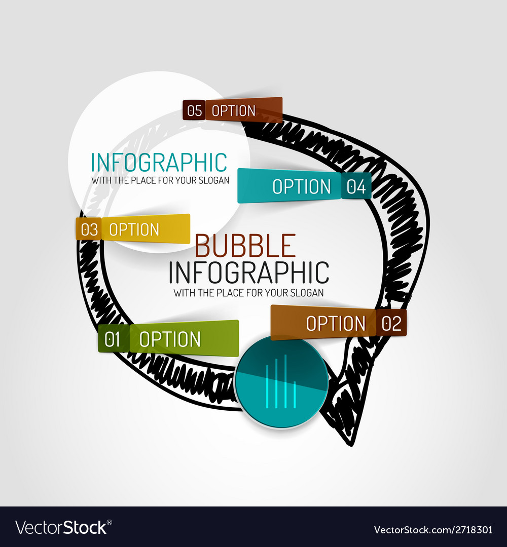 Hand drawn cloud design and infographics vector | Price: 1 Credit (USD $1)