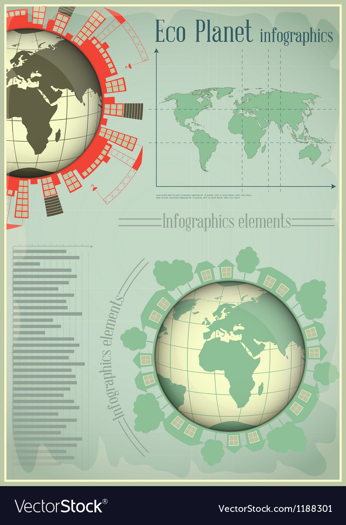 Infographics planet earth and construction vector | Price: 1 Credit (USD $1)