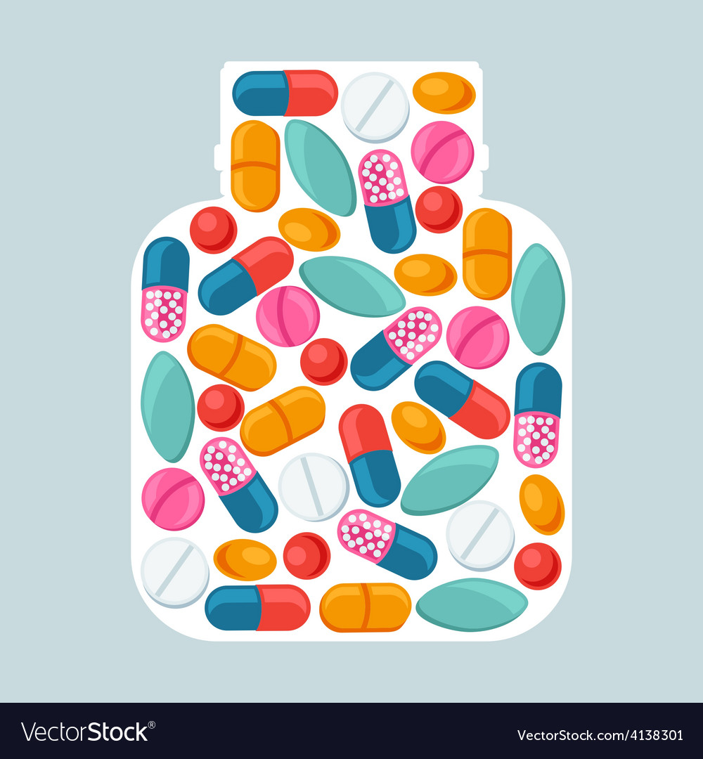 Medical background with pills and capsules in vector | Price: 1 Credit (USD $1)