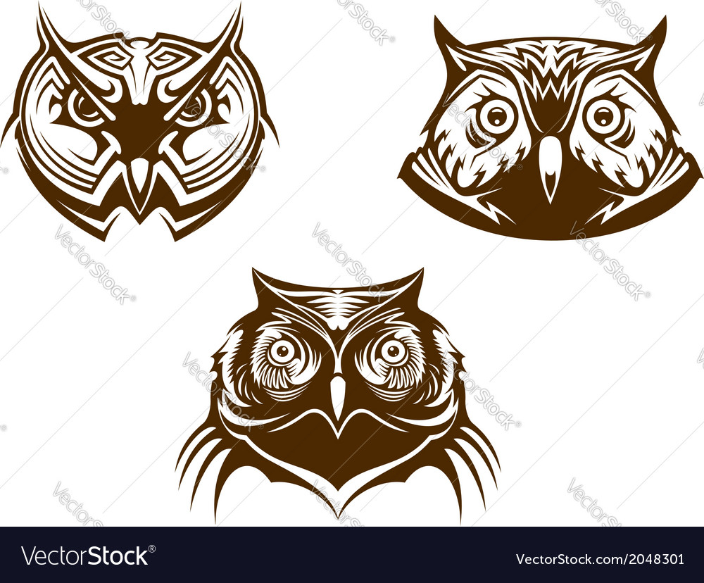 Owl heads mascots vector | Price: 1 Credit (USD $1)