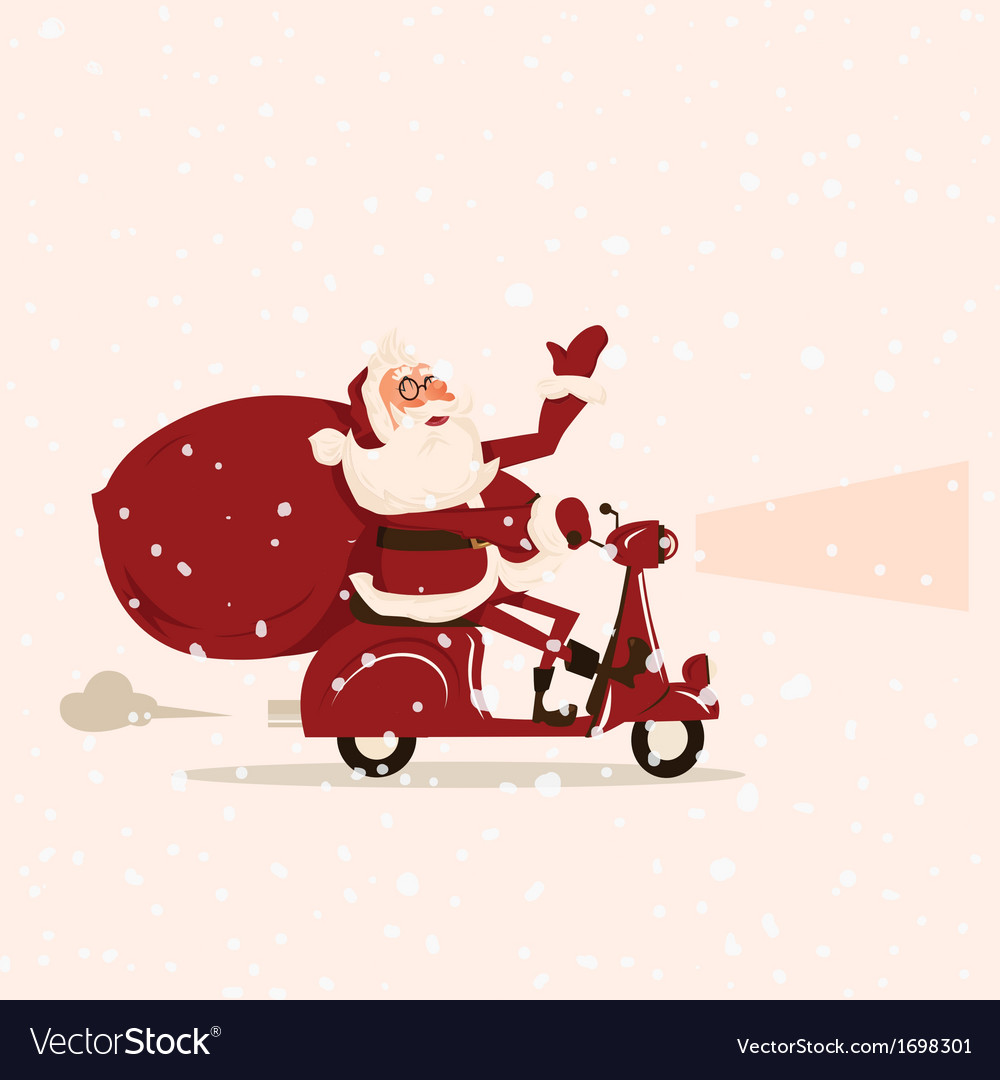 Santa goes with gifts on a moped vector | Price: 1 Credit (USD $1)
