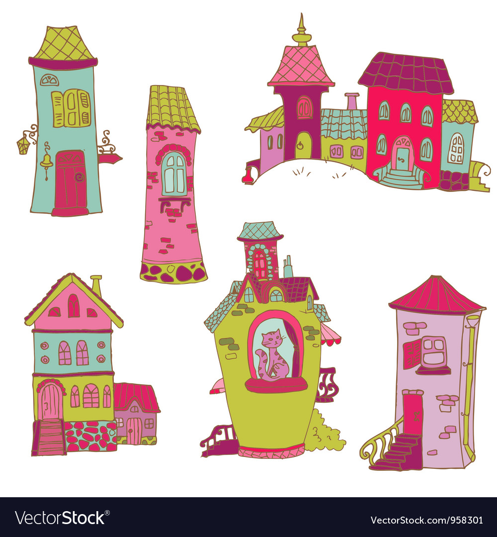Scrapbook design elements - little houses doodles vector | Price: 1 Credit (USD $1)