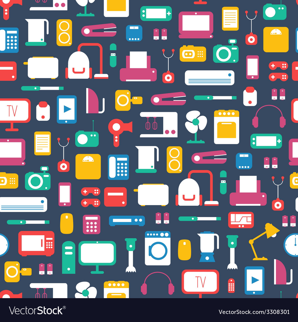 Seamless pattern of electronic devices and home vector | Price: 1 Credit (USD $1)