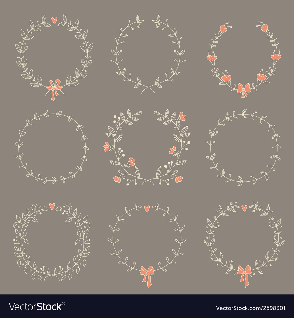 Set of 9 hand drawn wreaths vector | Price: 1 Credit (USD $1)