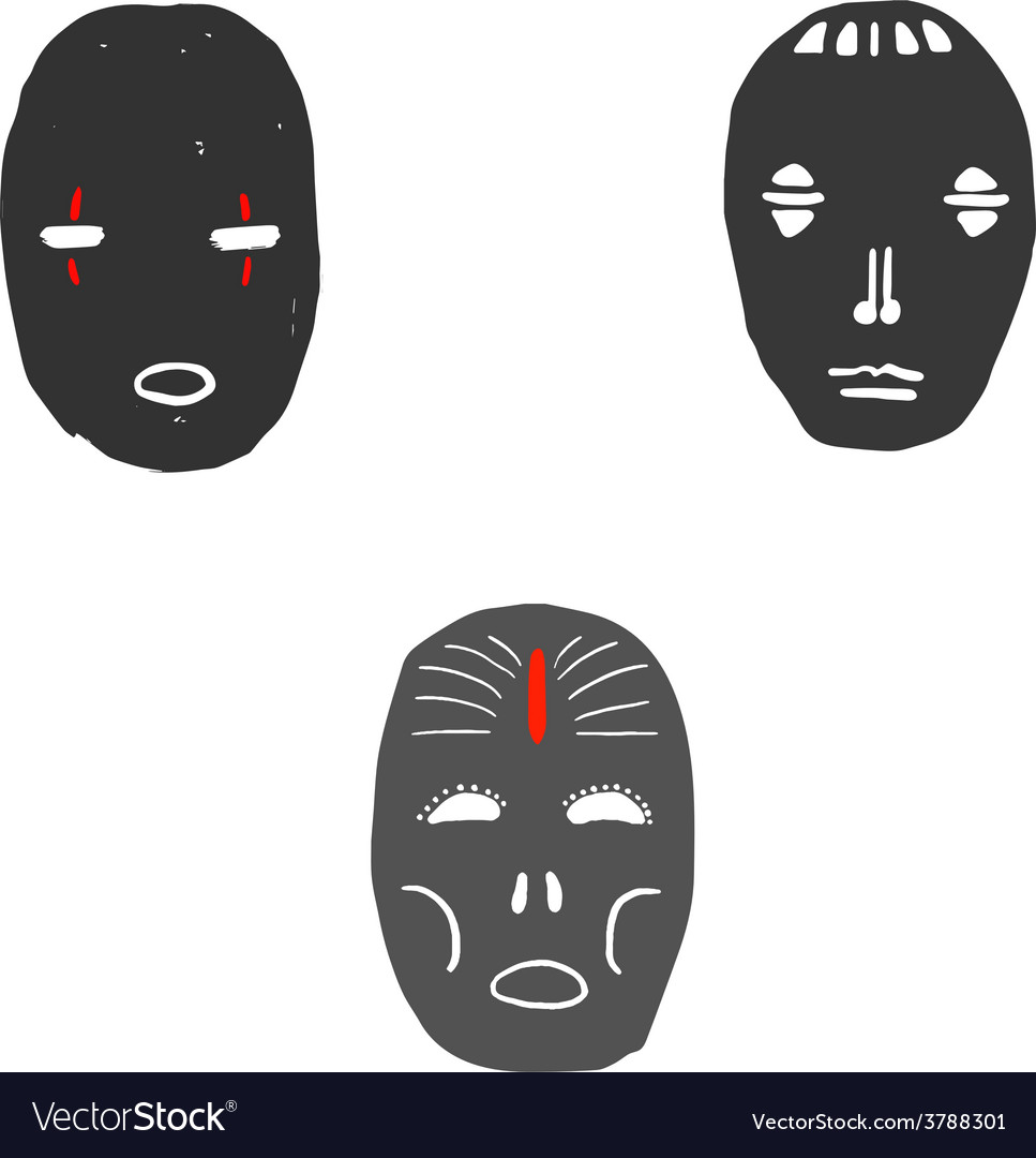 Set of ritual masks vector | Price: 1 Credit (USD $1)