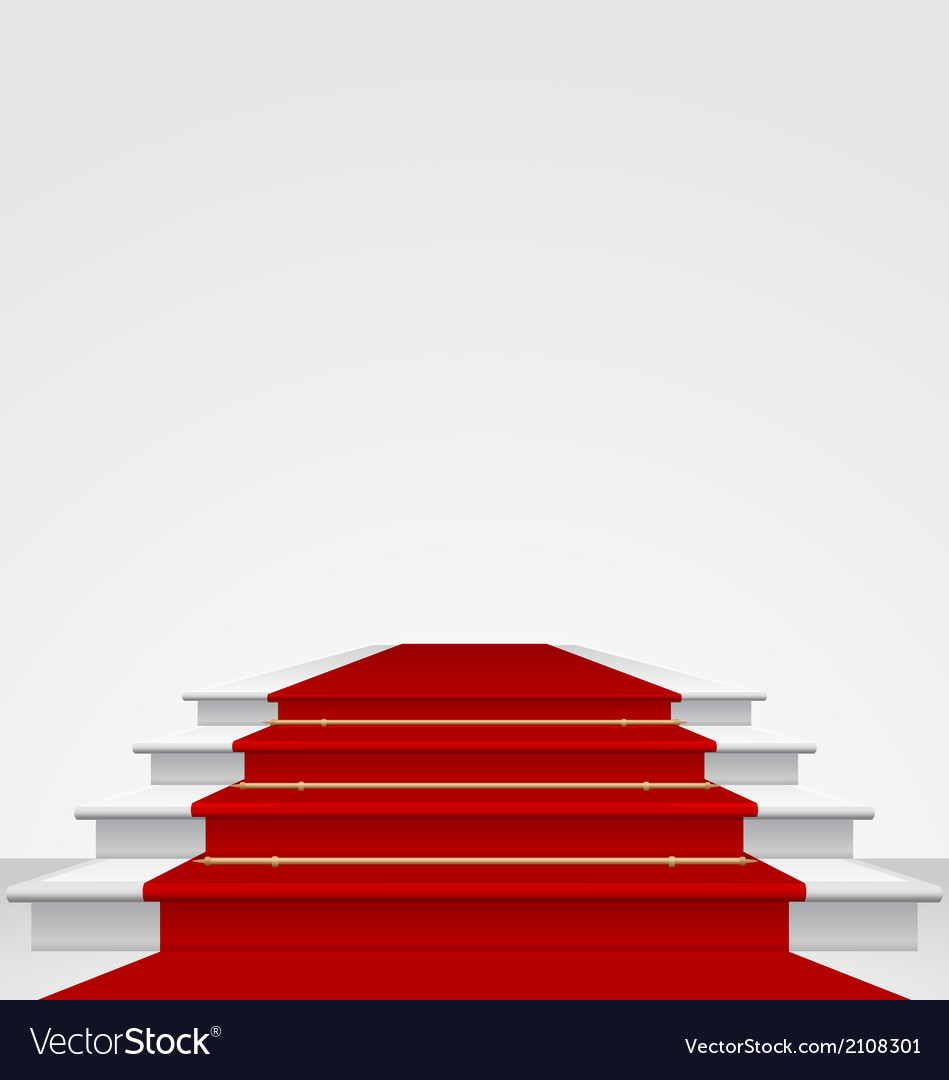 Stairs covered with red carpet isolated vector | Price: 1 Credit (USD $1)