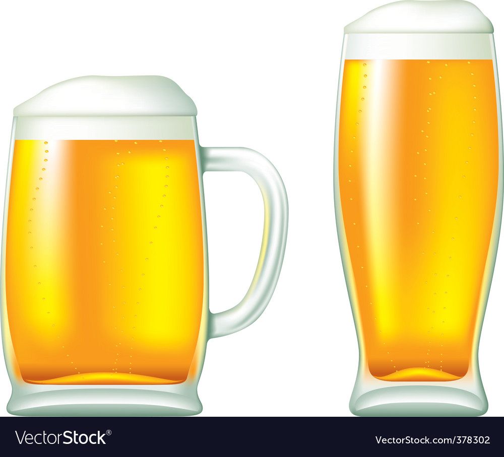 Beer in glass and mug vector | Price: 1 Credit (USD $1)