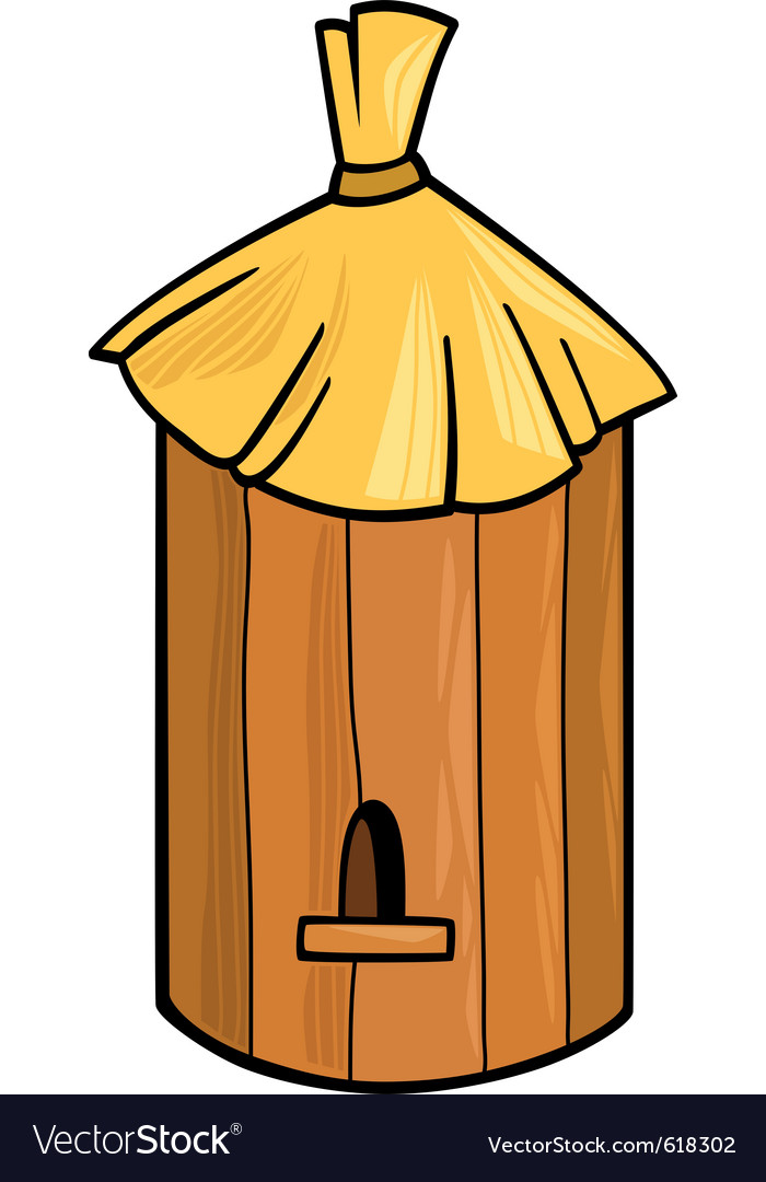 Cartoon of farm bee hive vector | Price: 1 Credit (USD $1)