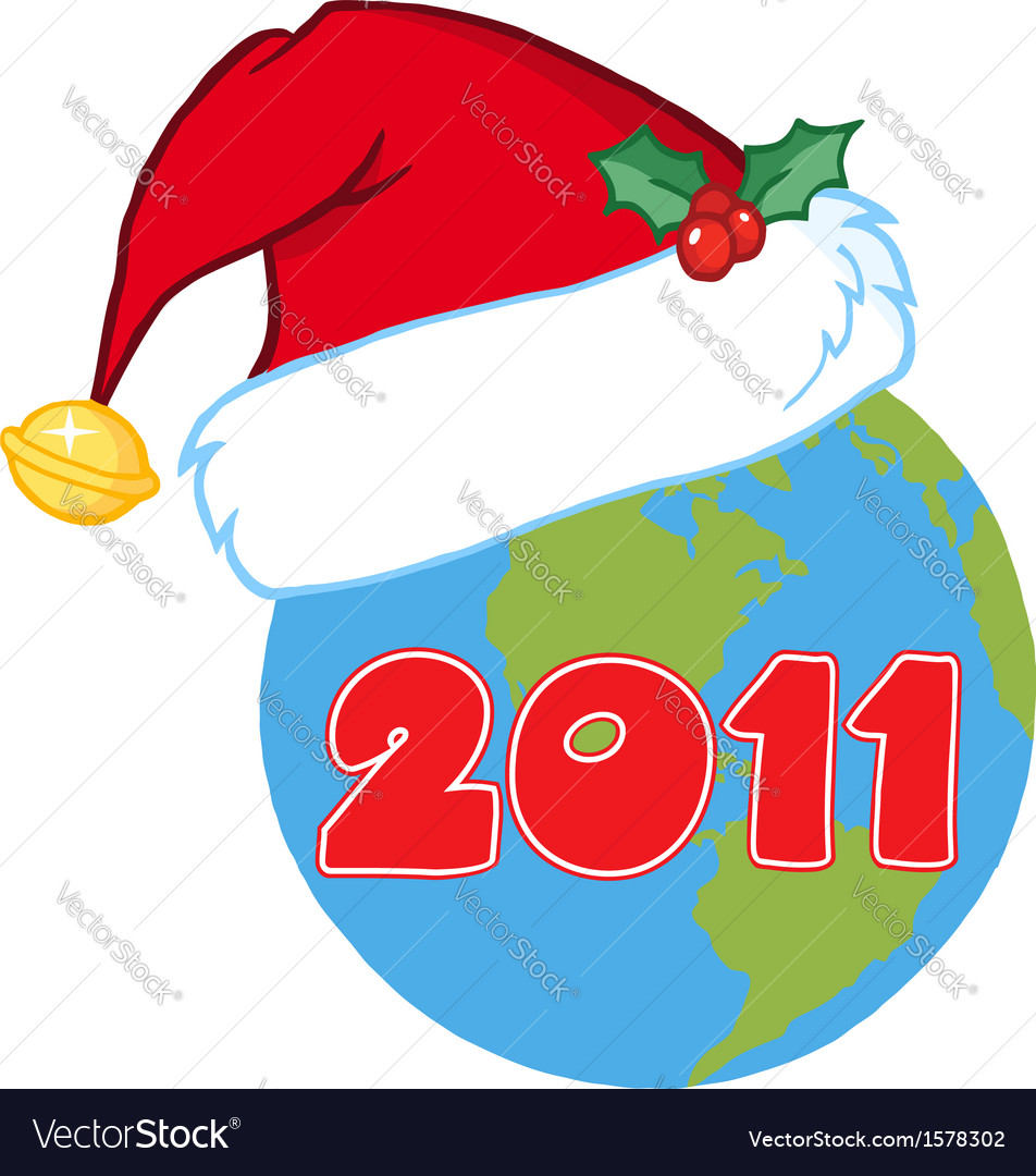 Earth with santa hat cartoon vector | Price: 1 Credit (USD $1)