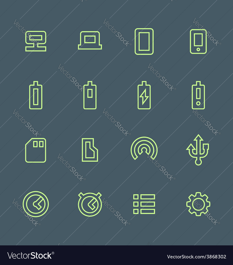 Green outline various device icons set vector | Price: 1 Credit (USD $1)
