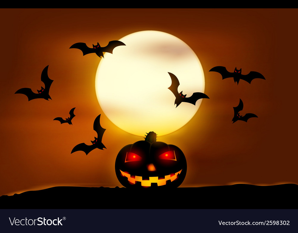 Halloween sunset vector | Price: 1 Credit (USD $1)