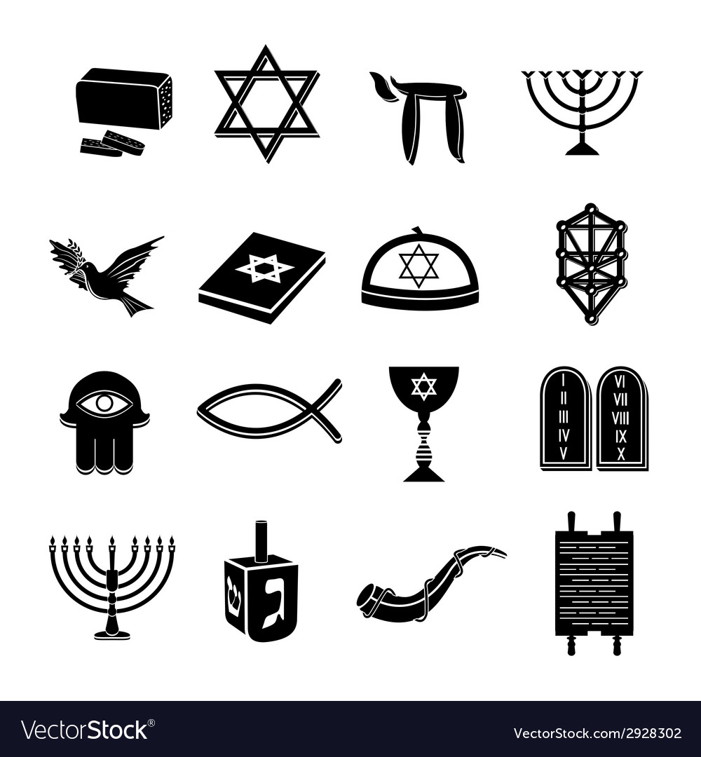 Judaism icons set black vector | Price: 1 Credit (USD $1)