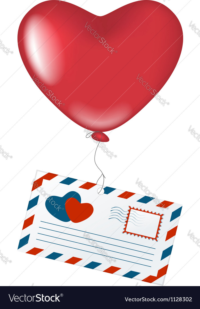 Love letter with heart balloon vector | Price: 1 Credit (USD $1)
