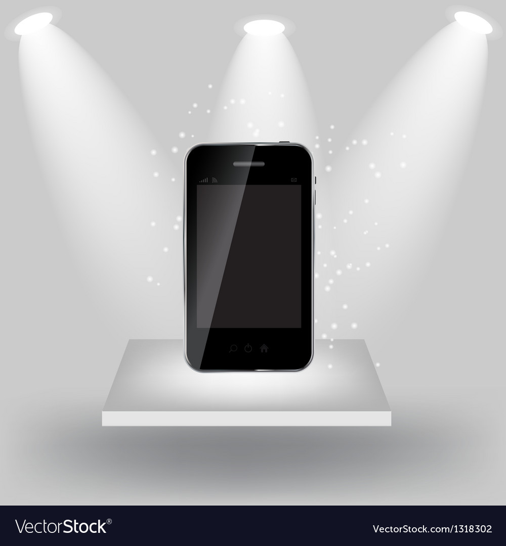 Mobile phone on white shelve on light grey vector   Price: 1 Credit (USD $1)