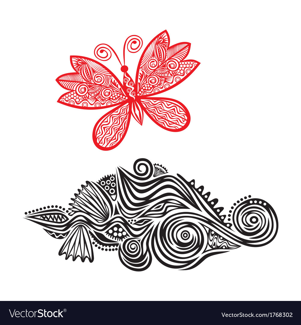 Pattern design element with butterfly vector | Price: 1 Credit (USD $1)