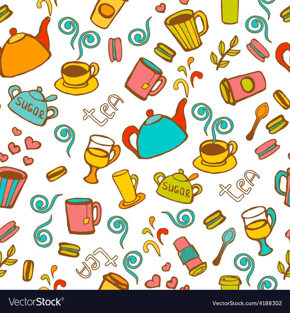 Tea and coffee seamless background vector | Price: 1 Credit (USD $1)