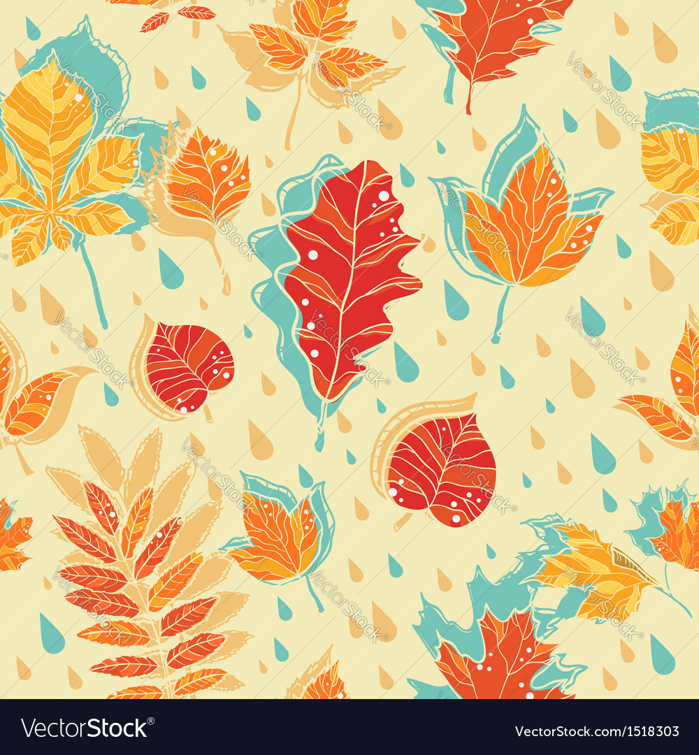 Autumn leaves colorful seamless pattern vector | Price: 1 Credit (USD $1)