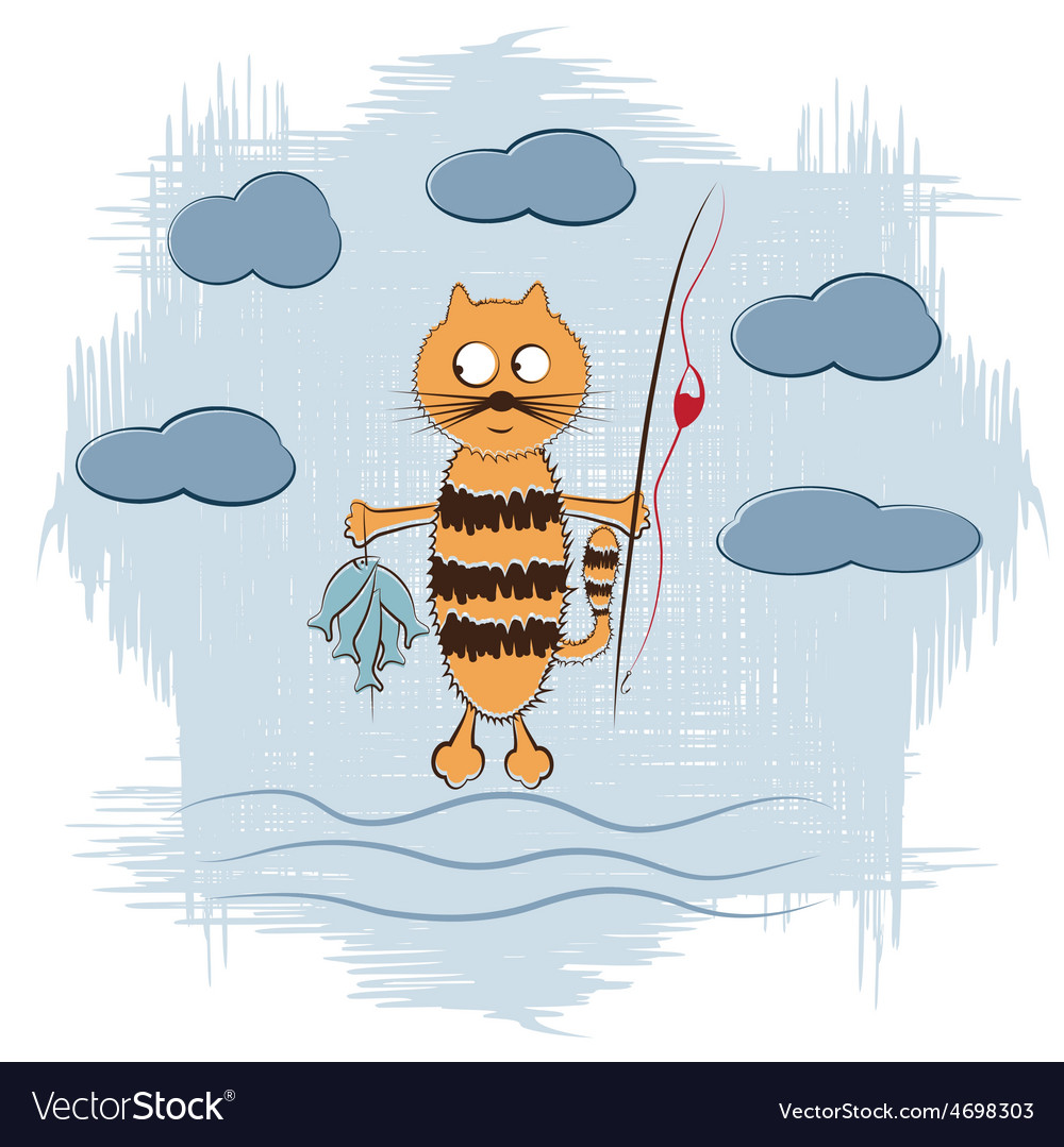 Cartoon cat with fishing rod and fish vector | Price: 1 Credit (USD $1)