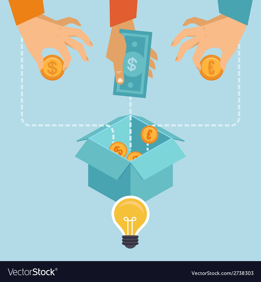 Crowdfunding concept in flat style vector | Price: 1 Credit (USD $1)