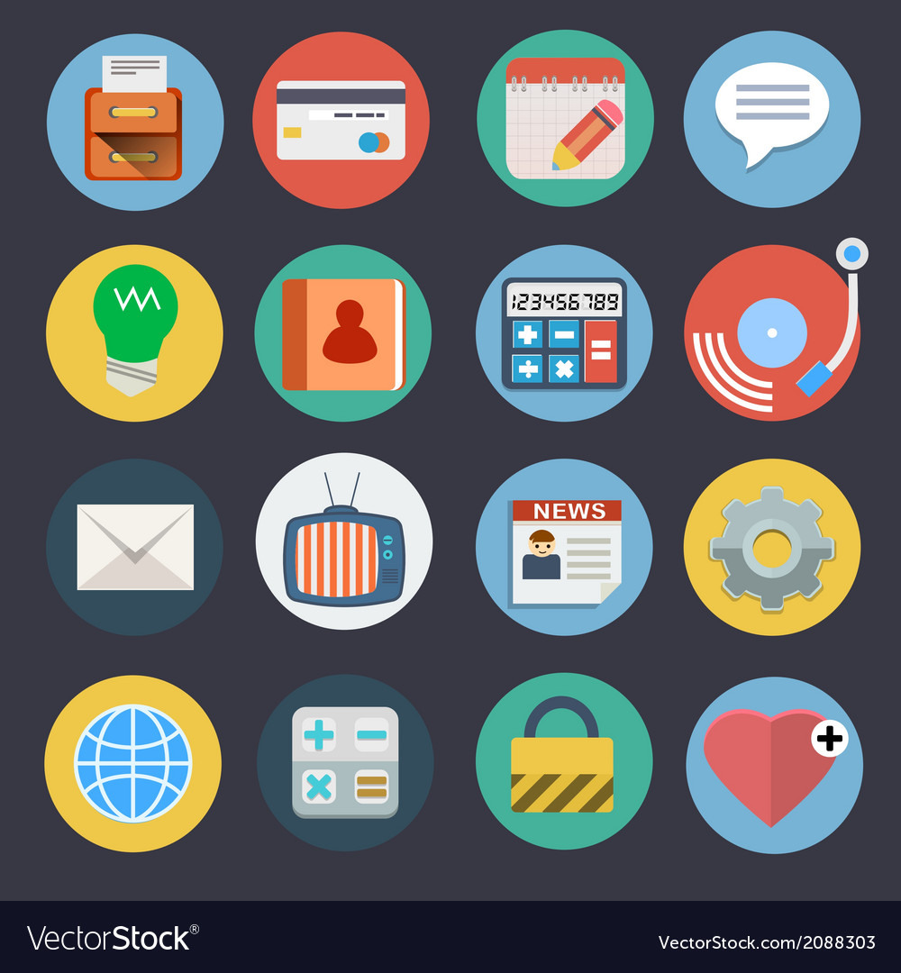 Flat icons for web and applications set 2 vector | Price: 1 Credit (USD $1)