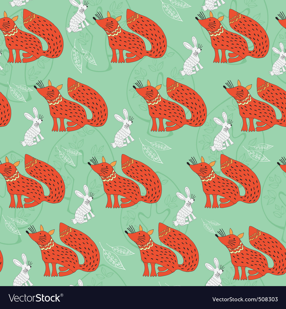 Fox and bunny vector | Price: 1 Credit (USD $1)