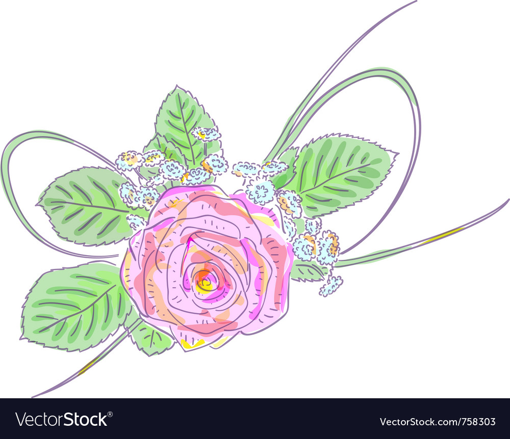 Pink rose and meadow flowers holiday arrangement vector | Price: 1 Credit (USD $1)