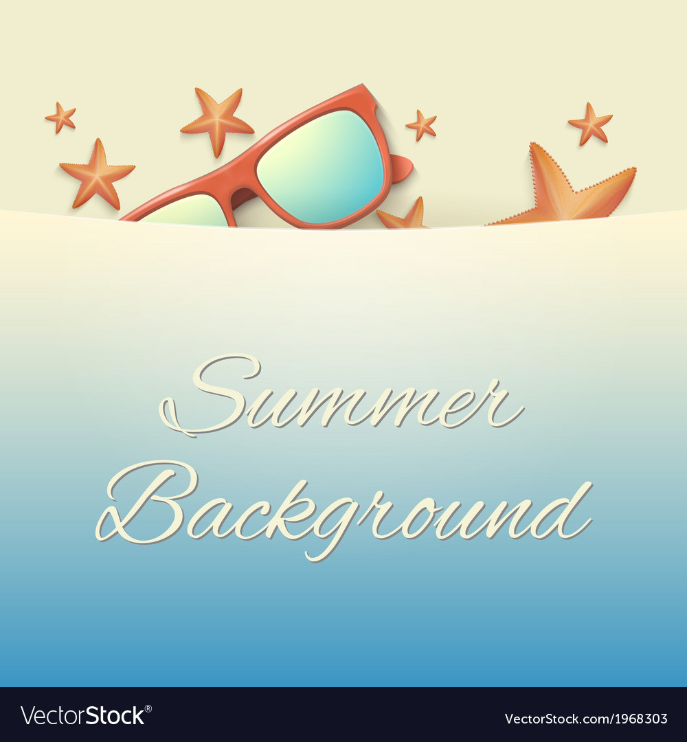 Sandy beach with starfish and sunglasses summer vector | Price: 1 Credit (USD $1)