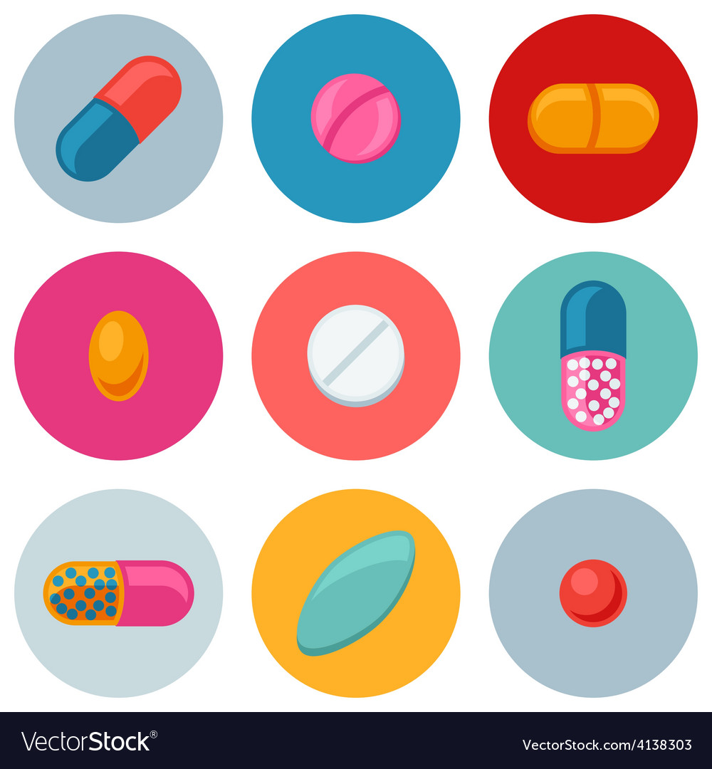 Set of various pills and capsules icons vector | Price: 1 Credit (USD $1)
