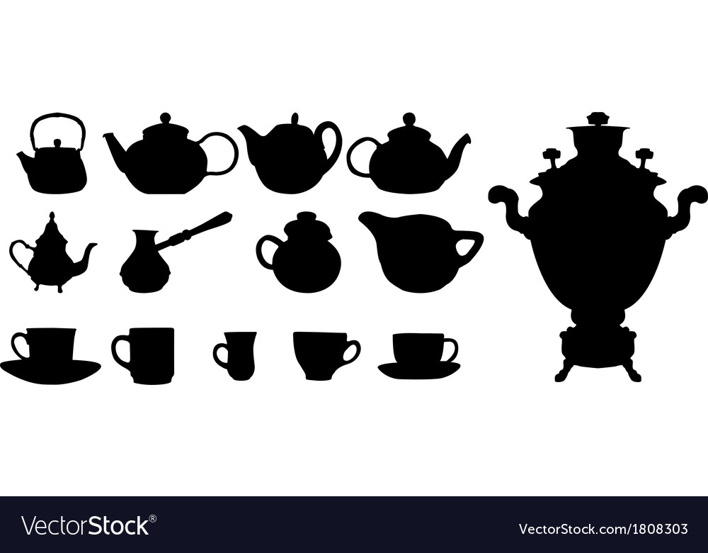 Silhouette of drinks cafe icons vector | Price: 1 Credit (USD $1)
