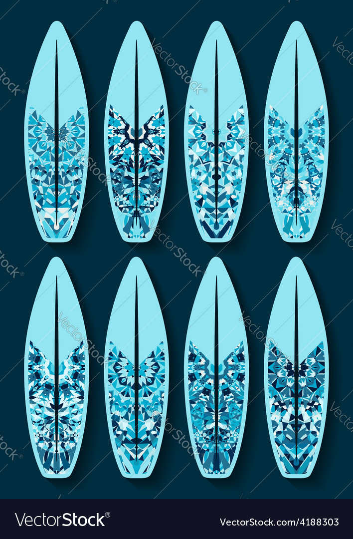 Surfboards set with blue kaleidoscope pattern vector | Price: 1 Credit (USD $1)