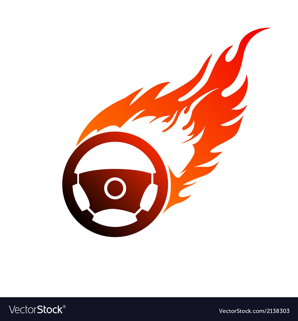 Symbol burning automobile steering vector | Price: 1 Credit (USD $1)