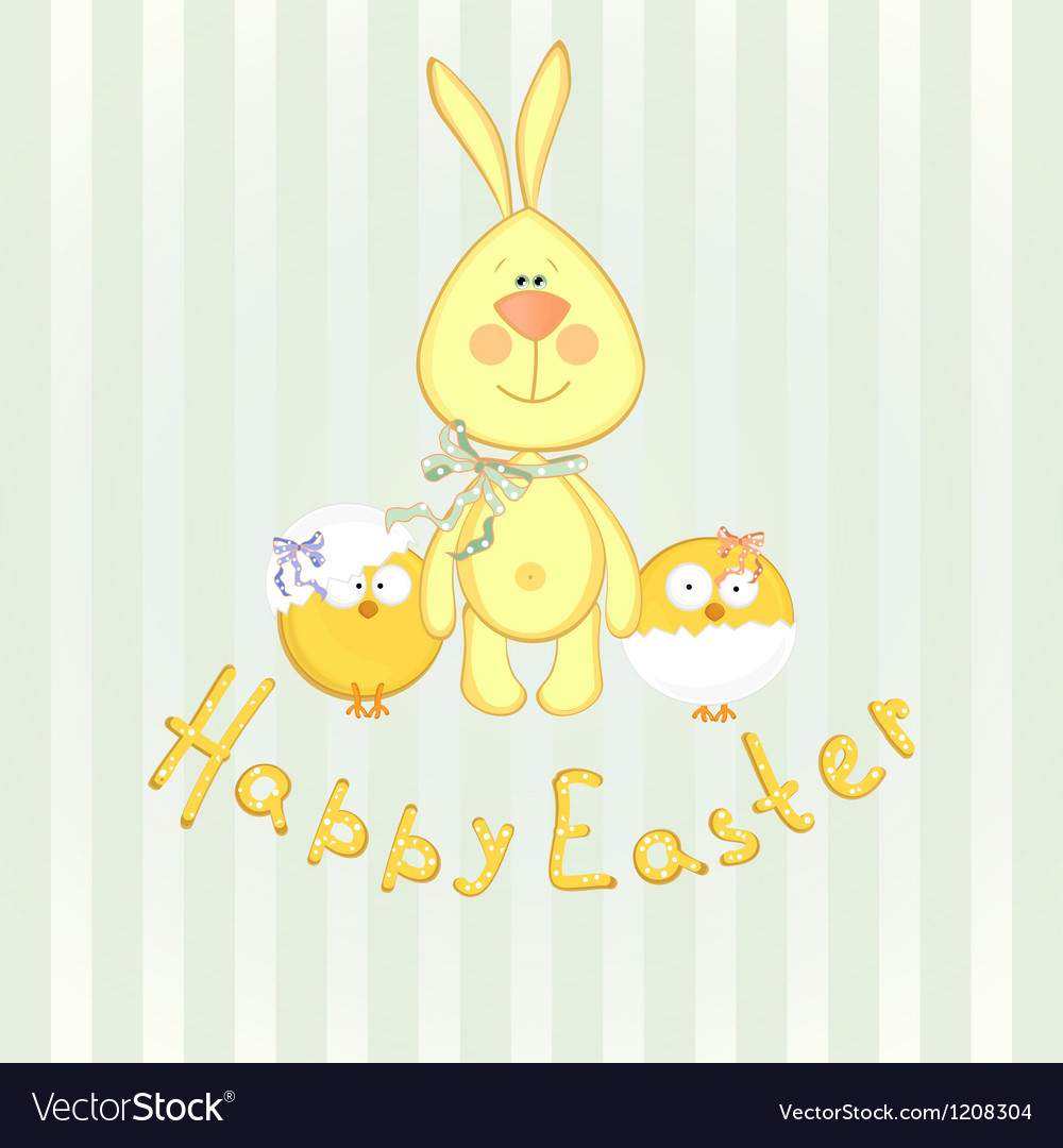 Background with bunny and chicken vector | Price: 3 Credit (USD $3)