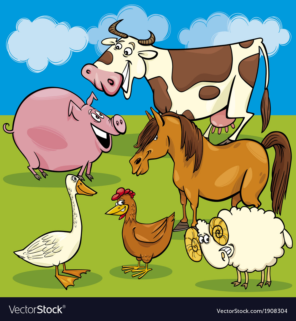 Cartoon farm animals group vector | Price: 3 Credit (USD $3)