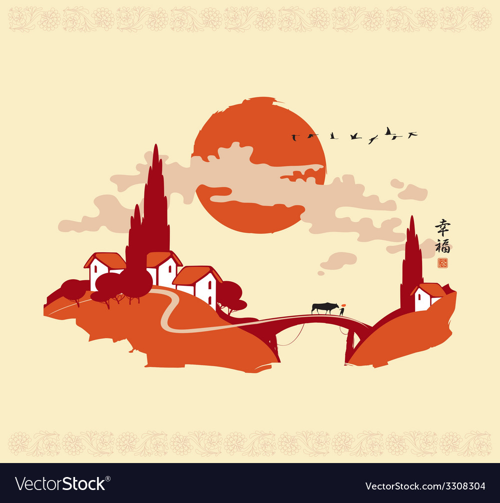 China landscape 001 vector | Price: 1 Credit (USD $1)