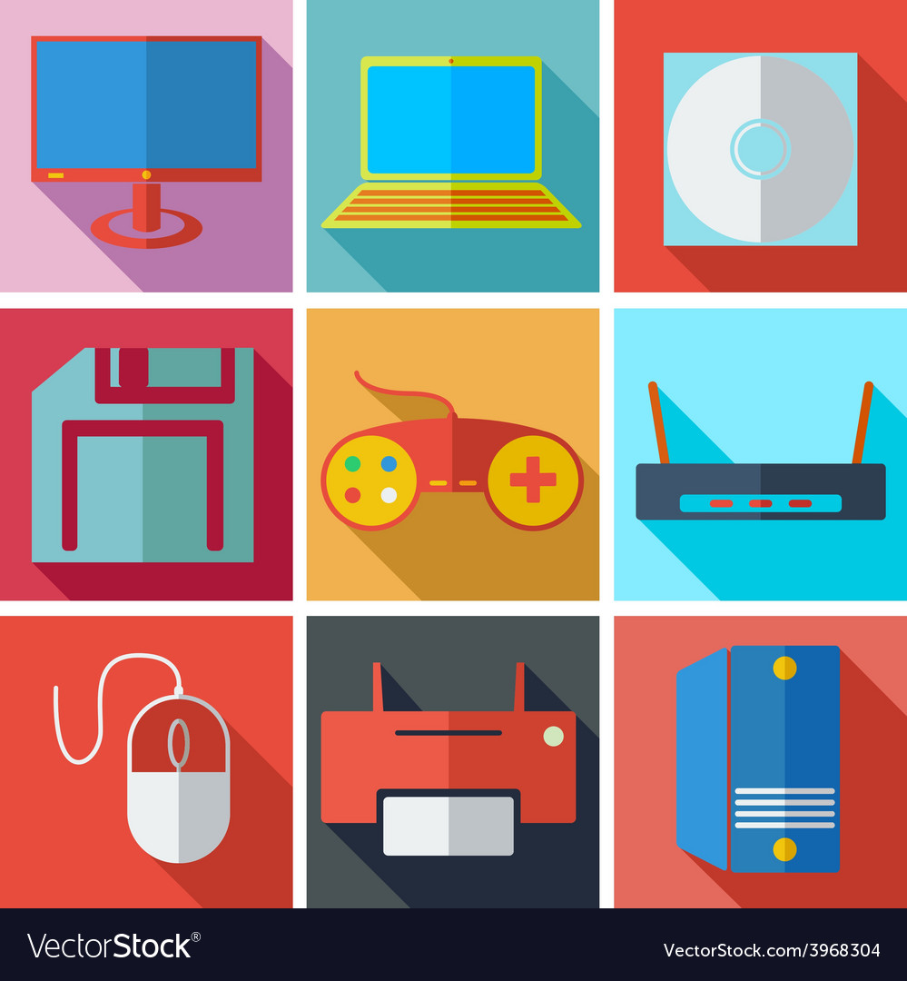 Collection modern flat icons media technology with vector | Price: 1 Credit (USD $1)