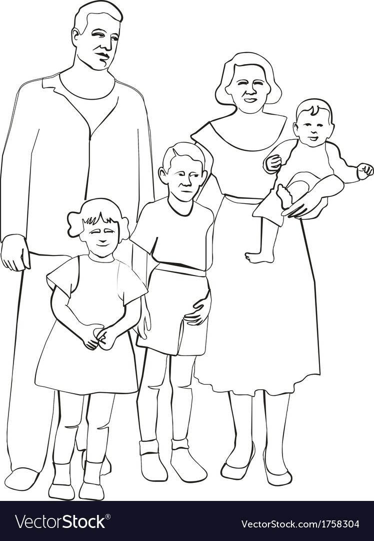 Family silhouette 02 vector | Price: 1 Credit (USD $1)